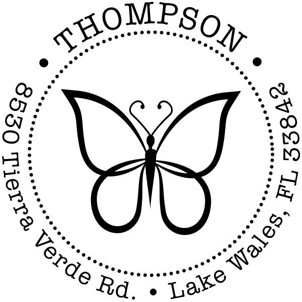 Elegant Butterfly Return Address Stamp