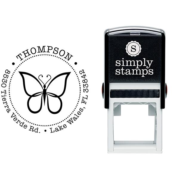 Elegant Butterfly Return Address Stamp Body and Design