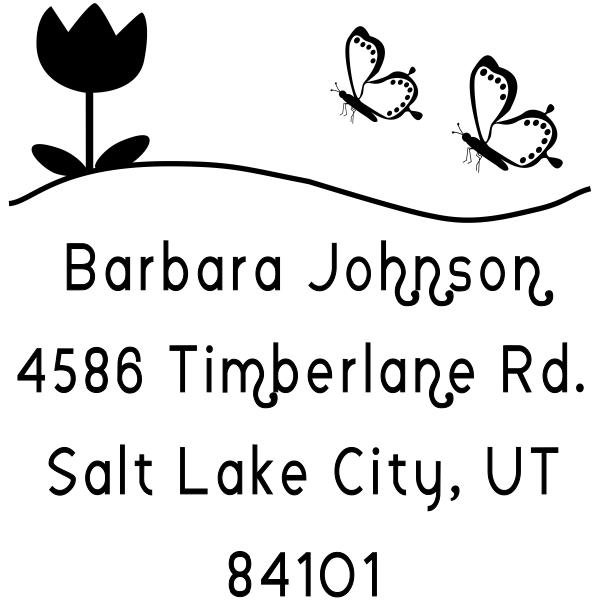 Butterfly Flower Return Address Stamp