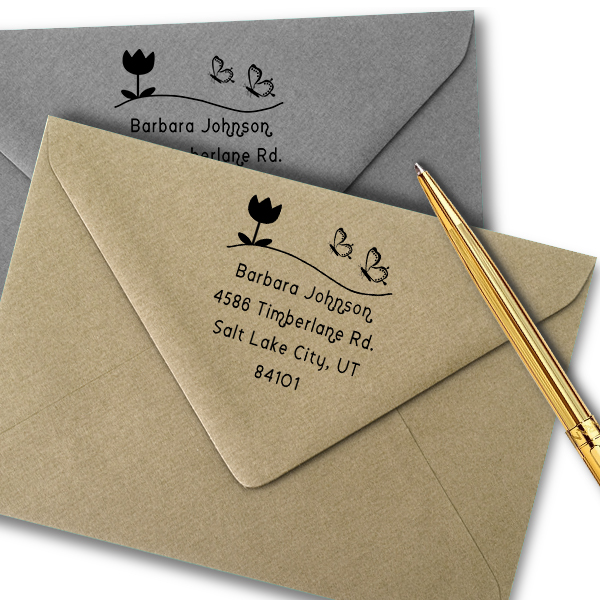Butterfly Flower Return Address Stamp Imprint Example