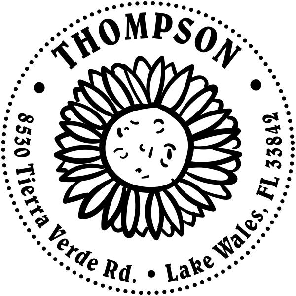 Sunflower Return Address Stamp