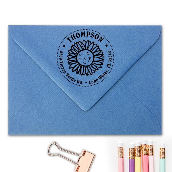 Sun Flower Thompson Address Stamp Imprint Example