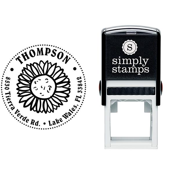 Sun Flower Thompson Address Stamp Body and Design