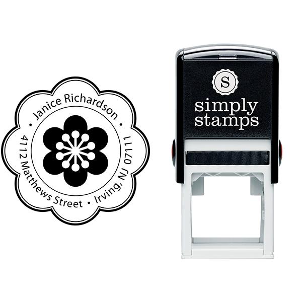 Designer Flower Address Stamp Body and Design