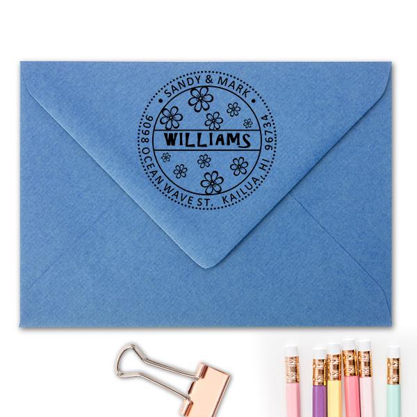 Hibiscus Flower Address Stamp Imprint Example