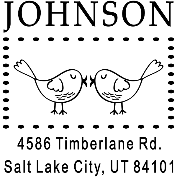 Kissing Love Birds Address Stamp
