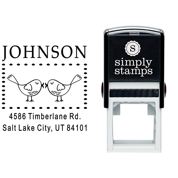 Kissing Love Birds Address Stamp Body and Design