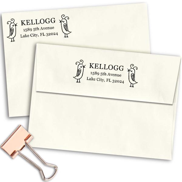 Skinny Birds Duo Address Stamp Imprint Example