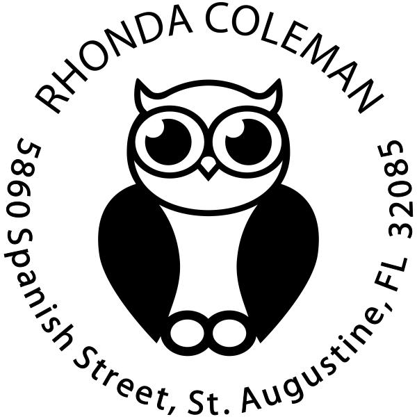 Big Eyed Owl Round Address Stamp