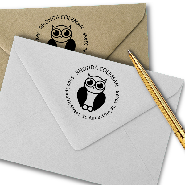 Big Eyed Owl Address Stamp Imprint Example