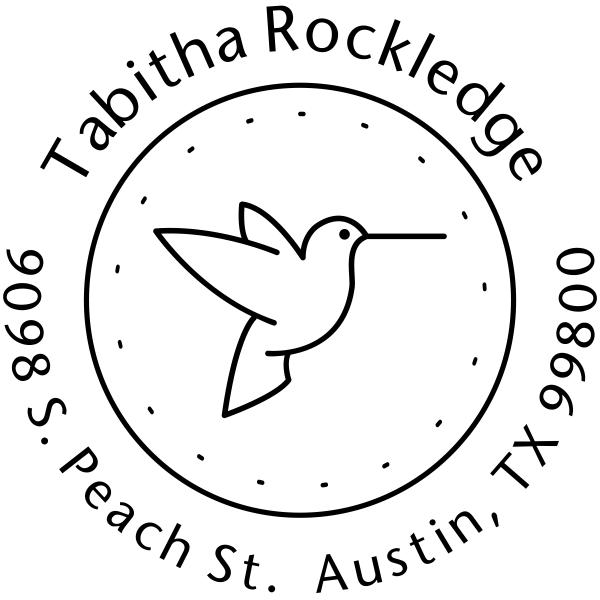 Hummingbird Dotted Border Address Stamper