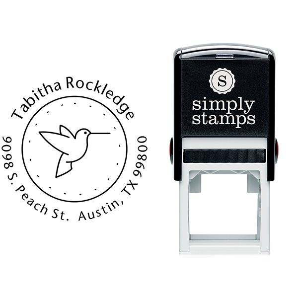 Hummingbird Dotted Border Address Stamp Body and Design