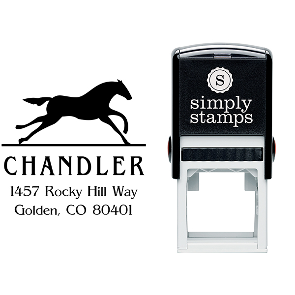 Running Horse Square Address Stamp Body and Design