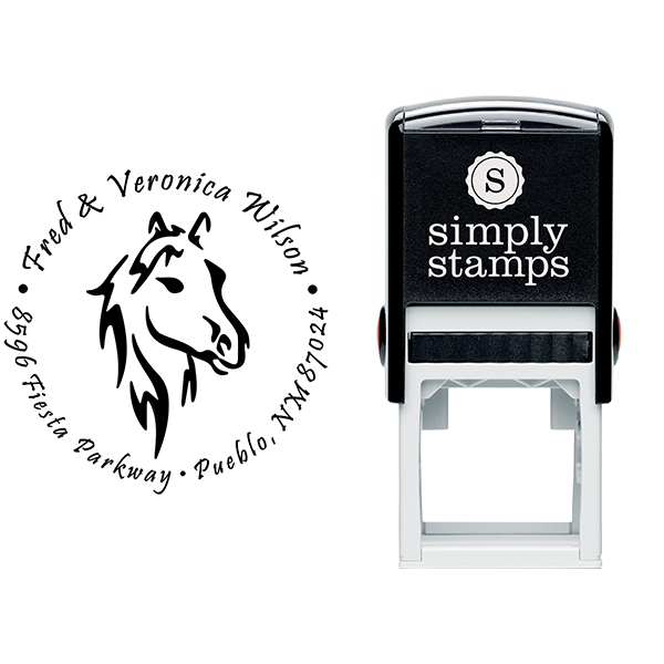 Beauty Horse Head Round Address Stamp Body and Design