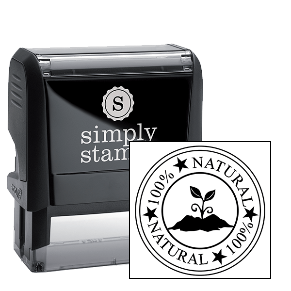 100% Natural Round Rubber Stamp