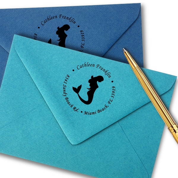 Round Mermaid Address Stamp Imprint Example
