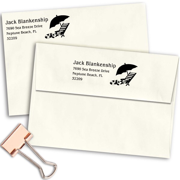Beach Chair Umbrella Return Address Stamp Imprint Example
