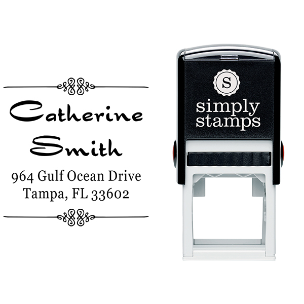 Smith Deco 4 Line Return Address Stamp Body and Design