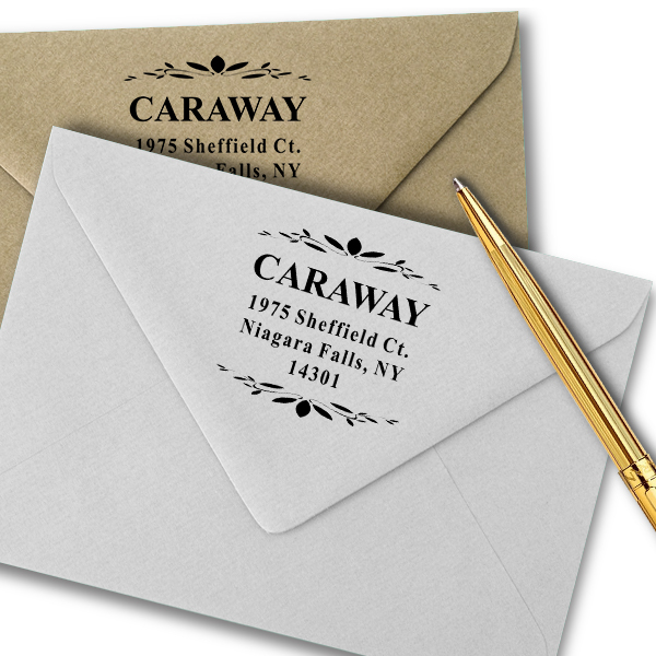 Caraway Leaf Deco Return Address Stamp Imprint Example