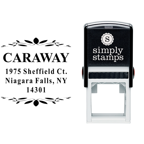 Caraway Leaf Deco Return Address Stamp Body and Design