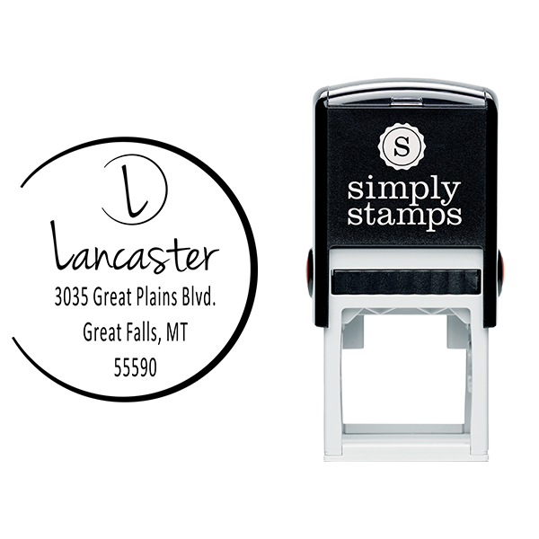Lancaster Monogram Open Circle Address Stamp Body and Design