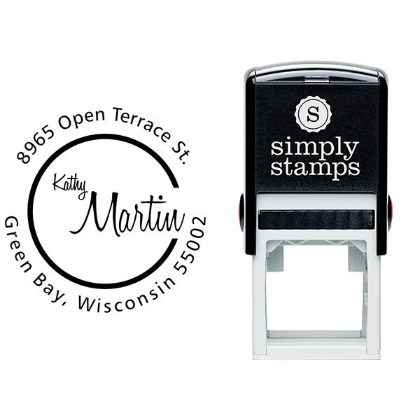 Martin Cursive Round Address Stamp Body and Design