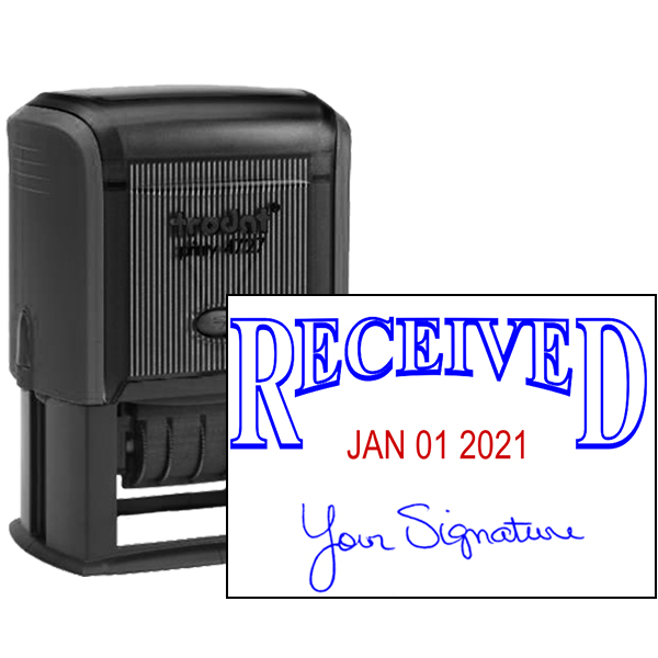 Received Signature Date Rubber Stamp - Date Bottom