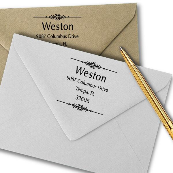 Weston Vintage Address Stamp Imprint Example
