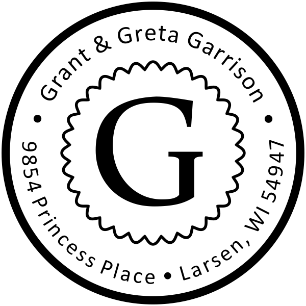 Garrison Solid Circle Border Address Stamp