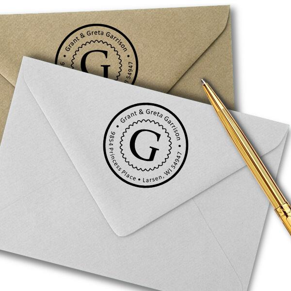 Garrison Solid Circle Border Address Stamp Imprint Example