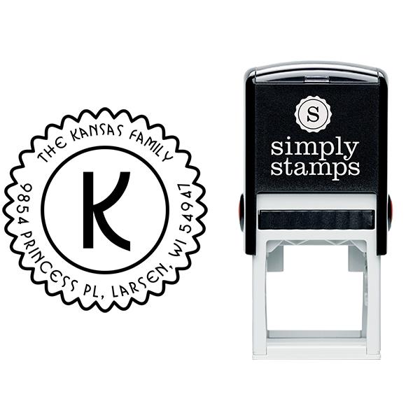 Kansas Round Zig Zag Address Stamp Body and Design