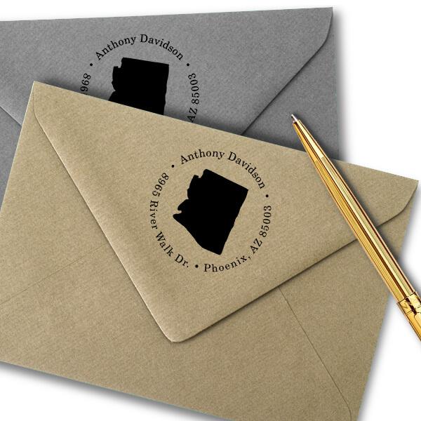 Arizona Round Address Stamp Imprint Example