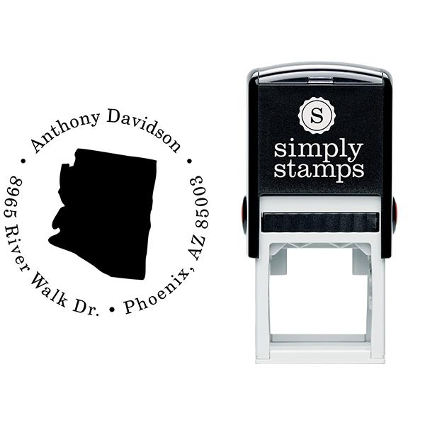 Arizona Round Address Stamp Body and Design