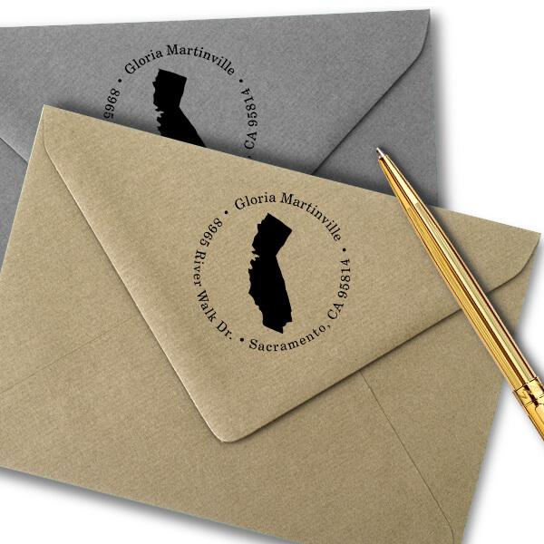 California Round Address Stamp Imprint Example