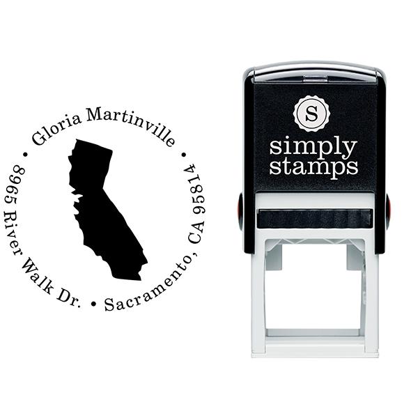 California Round Address Stamp Body and Design