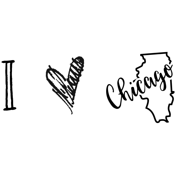 I Love Illinois Rubber Stamp