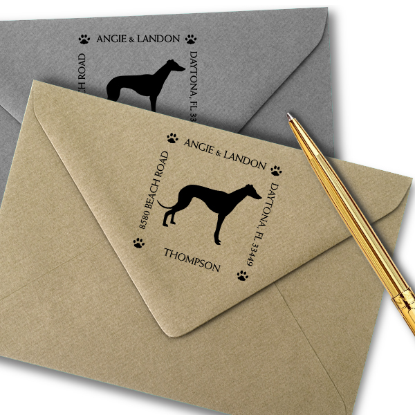 Greyhound Pet Lover Dog Address Stamp Imprint Example