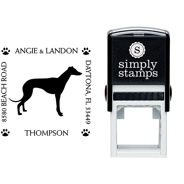 Greyhound Pet Lover Dog Address Stamp Body and Design