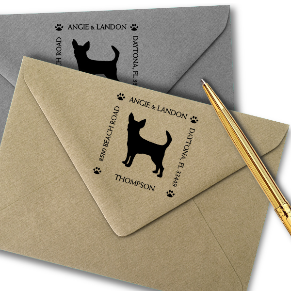 Chihuahua Pet Lover Dog Address Stamp Imprint Example