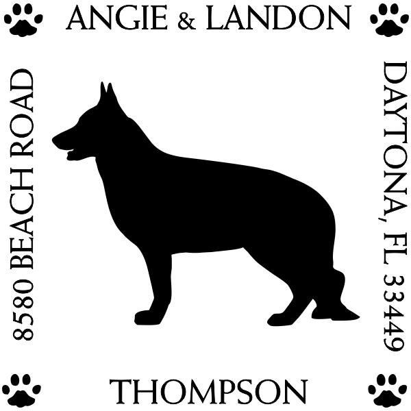 German Shepherd Pet Dog Address Stamp