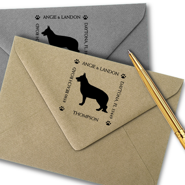 German Shepherd Pet Lover Dog Address Stamp Imprint Example