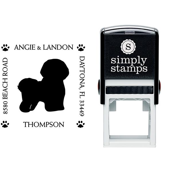 Bichon Frise Pet Lover Dog Address Stamp Body and Design