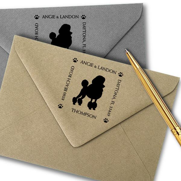 Poodle Pet Lover Dog Address Stamp Imprint Example