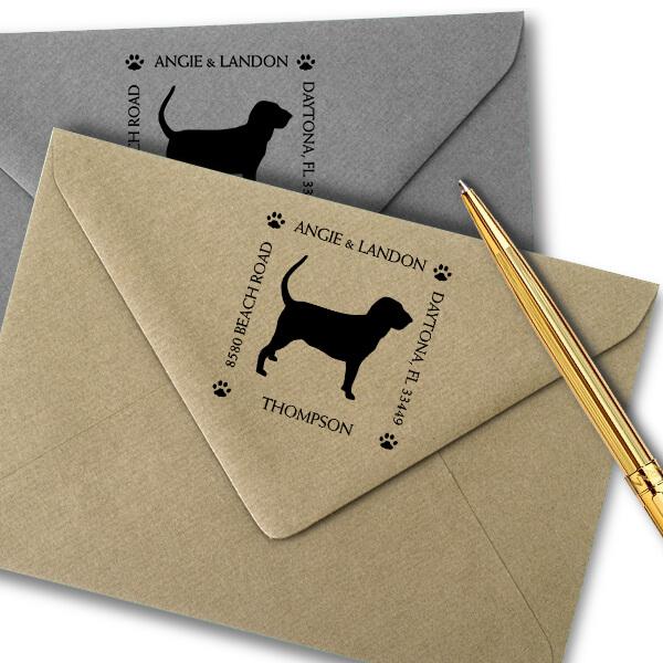 Hound Dog Pet Lover Dog Address Stamp Imprint Example
