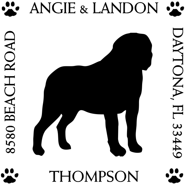 St Bernard Pet Lover Dog Address Stamp