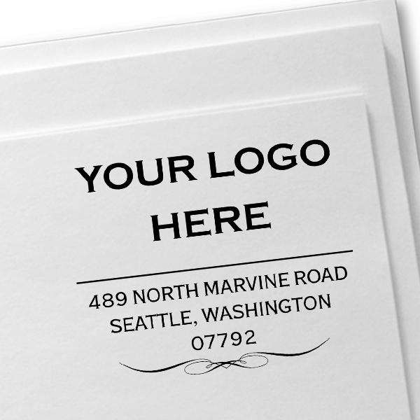 Vintage Logo Address Stamp Imprint Example