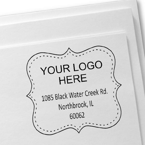 Dotted Border Logo Address Stamp Imprint Example