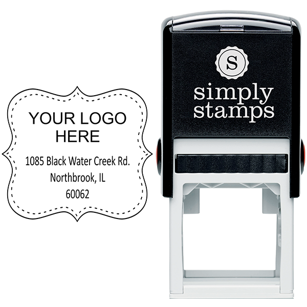 Dotted Border Logo Address Stamp Body and Design