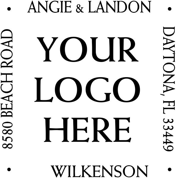 Four Way Square Logo Address Stamp