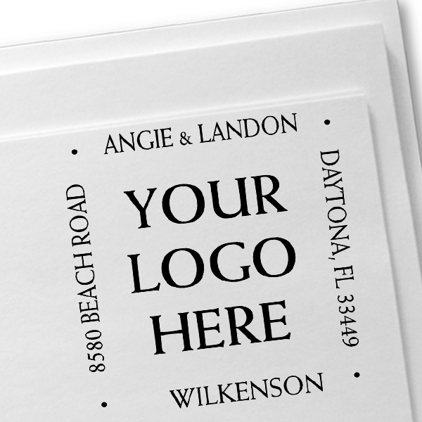 Four Way Square Logo Address Stamp Imprint Example